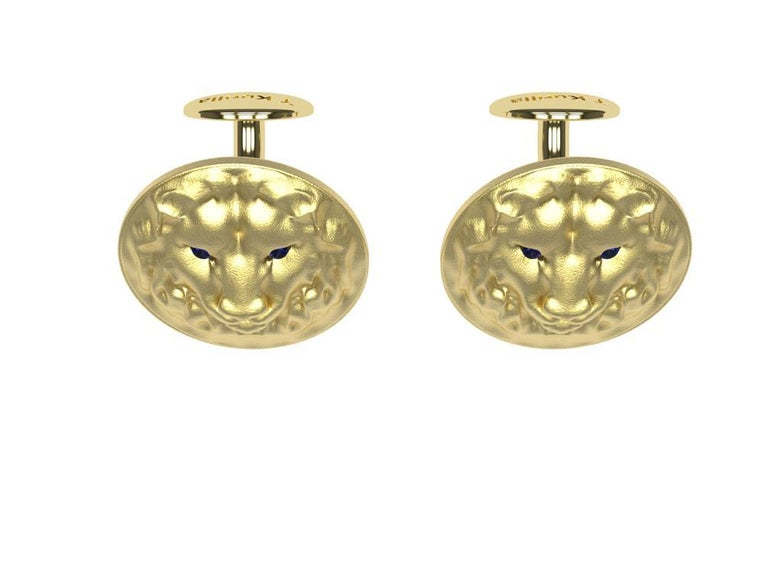 14K Yellow Gold Sapphire Lion Cufflinks. Tiffany Designer Thomas Kurilla created these for 1stdibs. The great lion. Ruler of the jungle, brave, and fearless. The best subject matter for guys. Who wants to see one of these live? The eyes are AA grade