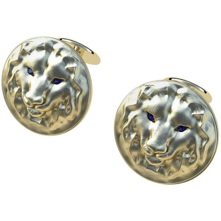 14 Karat Yellow Gold Sapphire Lion Cufflinks For Sale