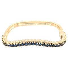 14 Karat Yellow Gold Sapphire Nesting Bangle Bracelet