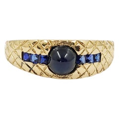 14 Karat Yellow Gold Sapphire Quilted Ring