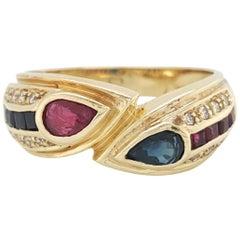 14 Karat Yellow Gold Sapphire Ruby and Diamond Band Ring