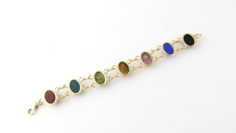 14 Karat Yellow Gold Scarab Bracelet In Good Condition For Sale In Greenwich, CT