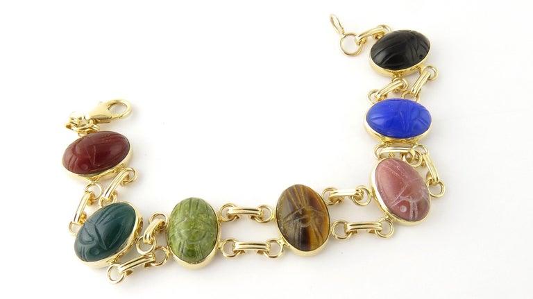 Women's 14 Karat Yellow Gold Scarab Bracelet For Sale