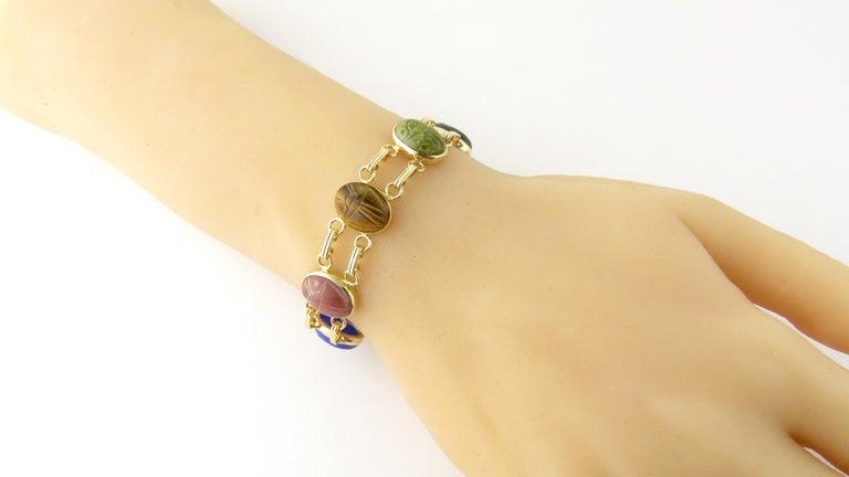 14 Karat Yellow Gold Scarab Bracelet For Sale 2