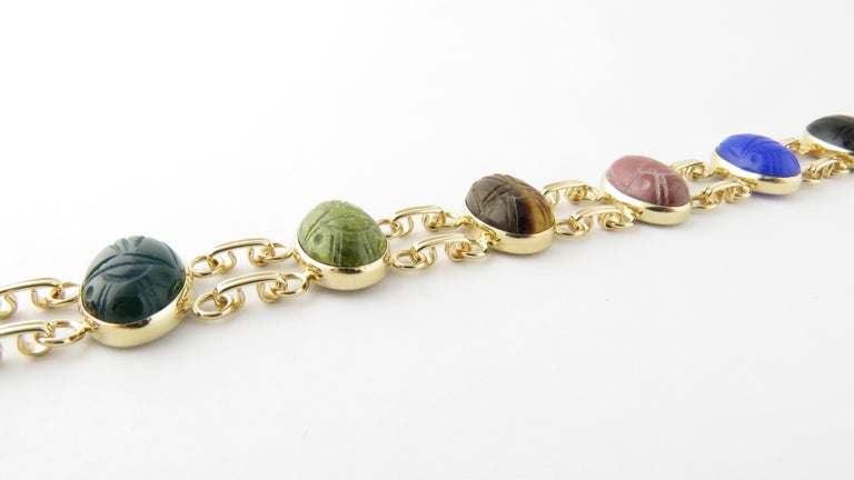 14 Karat Yellow Gold Scarab Bracelet For Sale 3