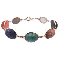 14 Karat Yellow Gold Scarab Bracelet with Semi-Precious Stones