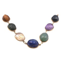 14 Karat Yellow Gold Scarab Necklace with Semi-Precious Stones