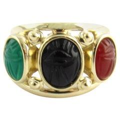 14 Karat Yellow Gold Scarab Ring