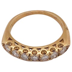14 Karat Yellow Gold Seven Diamond Anniversary Ring Wedding Band 0.70 TDW