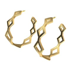 14k Yellow Gold Seven Rhombus Hoops