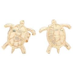 14 Karat Yellow Gold Small Turtle Stud Earrings