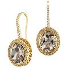 14 Karat Yellow Gold Smokey Topaz and Diamond Halo Gemset Dangle Earring