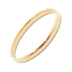 14 Karat Yellow Gold Smooth Tube Rigid Bangle Bracelet