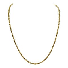14 Karat Yellow Gold Solid Diamond Cut Rope Chain Necklace