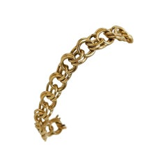 14 Karat Yellow Gold Solid Double Circle Curb Link Charm Bracelet