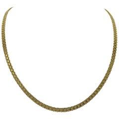 14 Karat Yellow Gold Solid Heavy Bismark Link Chain Necklace