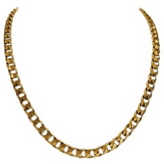 14 Karat Yellow Gold Solid Heavy Curb Link Chain Necklace