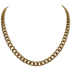 14 Karat Yellow Gold Solid Heavy Ladies Curb Link Chain Necklace