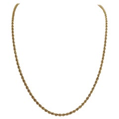 14 Karat Yellow Gold Solid Heavy Long Rope Chain Necklace