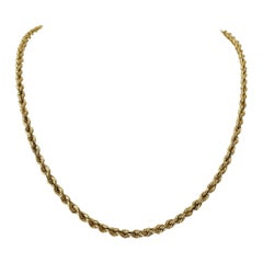 14 Karat Yellow Gold Solid Heavy Rope Chain Necklace