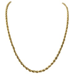 14 Karat Yellow Gold Solid Long Diamond Cut Rope Chain Necklace