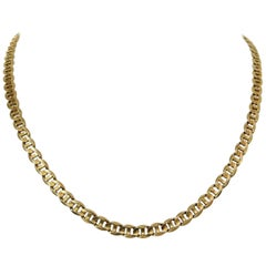 14 Karat Yellow Gold Solid Mariner Gucci Link Chain Necklace, Italy