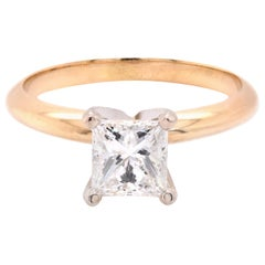 14 Karat Yellow Gold Solitaire Diamond Engagement Ring
