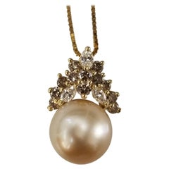 14 Karat Yellow Gold South Sea Golden Pearl with Brown and White Diamonds
