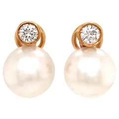 14 Karat Yellow Gold South Sea Pearl and Diamond Earrings