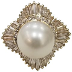 14 Karat Yellow Gold South Sea Pearl with Diamonds Baguette Ballerina