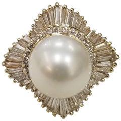 14 Karat Yellow Gold South Sea Pearl with Diamonds Baguette Ballerina