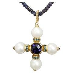 14 Karat Yellow Gold South Sea Pearls and Iolite Pendant