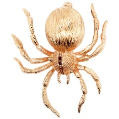 14 Karat Yellow Gold Spider Pin