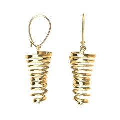14 Karat Yellow Gold Spiral Dangle Earrings