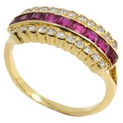 14 Karat Yellow Gold Square Cut .45 Carat Ruby and Round Diamond Fashion Ring