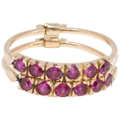 14 Karat Yellow Gold Square Cut .6 Carat Ruby and Double Band Fashion Ring