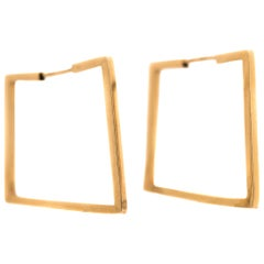 14 Karat Yellow Gold Square Hoop Earrings, 1950s