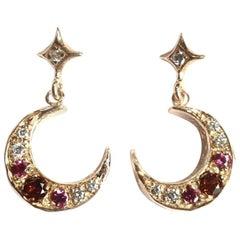 14 Karat Yellow Gold Star Garnet and Diamond Crescent Moon Earrings