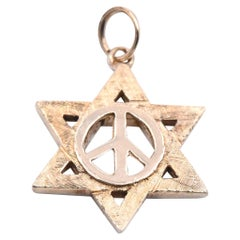 14 Karat Yellow Gold Star of David Peace Symbol Pendant
