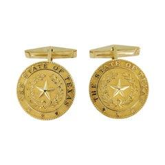 14 Karat Yellow Gold Star of Texas Cufflinks