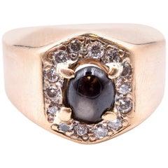 14 Karat Yellow Gold Star Sapphire and Diamond Ring