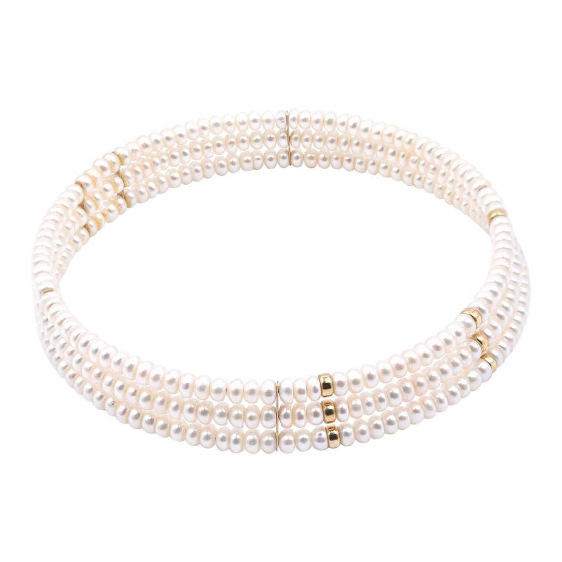 14 Karat Yellow Gold Station Pearl Necklace