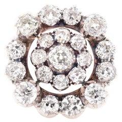 14 Karat Yellow Gold & Sterling Silver 1800's Vintage Diamond Circle Pin