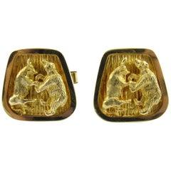 14 Karat Yellow Gold Stock Market Bull and Bears Cufflinks