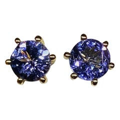 Tanzanite Stud Earrings set in 14kt Yellow Gold