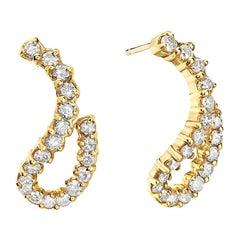 14 Karat Yellow Gold Swirl Diamond Earrings