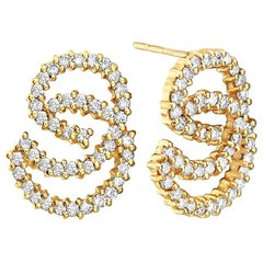 14 Karat Yellow Gold Swirl Diamond Earrings