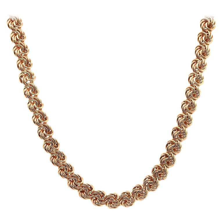 14 Karat Yellow Gold Swirl Link Necklace For Sale