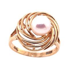 14 Karat Yellow Gold Swirl Pearl Ring