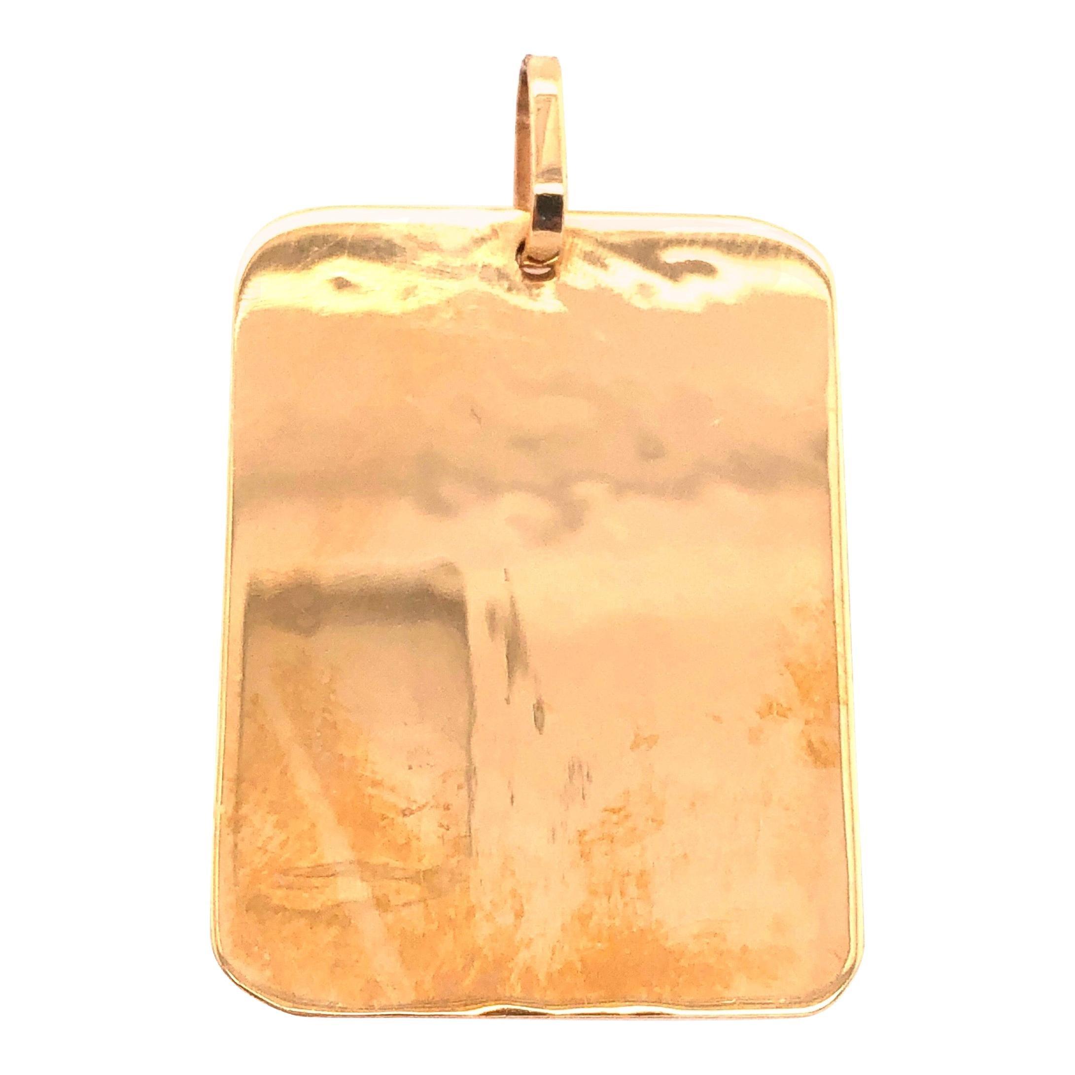 14 Karat Yellow Gold Tag / Charm Pendant